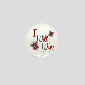 I Will Win 1 Butterfly 2 GREY Mini Button