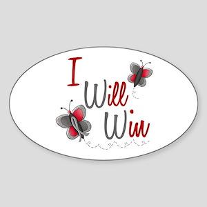 I Will Win 1 Butterfly 2 GREY Oval Sticker