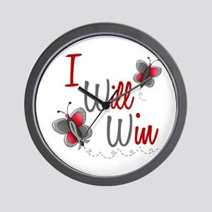 I Will Win 1 Butterfly 2 GREY Wall Clock
