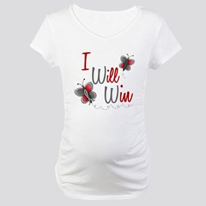 I Will Win 1 Butterfly 2 GREY Maternity T-Shirt