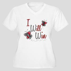 I Will Win 1 Butterfly 2 GREY Women's Plus Size V-
