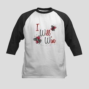 I Will Win 1 Butterfly 2 GREY Kids Baseball Jersey