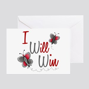 I Will Win 1 Butterfly 2 GREY Greeting Card