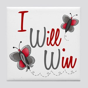 I Will Win 1 Butterfly 2 GREY Tile Coaster