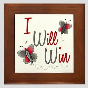 I Will Win 1 Butterfly 2 GREY Framed Tile