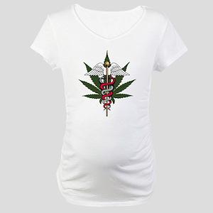 Medical Marijuana Caduceus Maternity T-Shirt