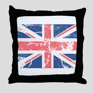 Worn and Vintage British Flag Throw Pillow