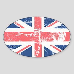 Worn and Vintage British Flag Oval Sticker