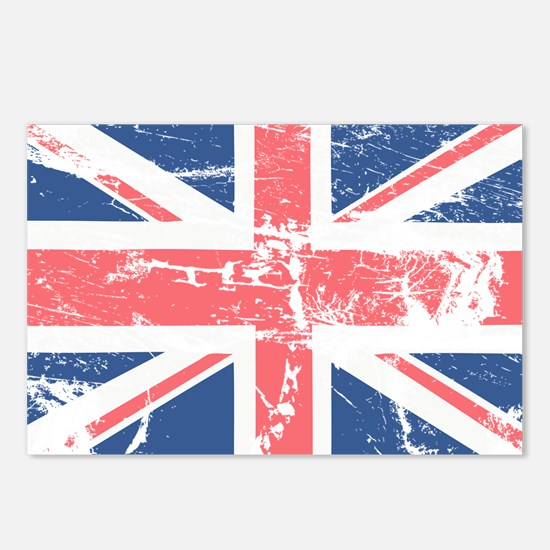 Worn and Vintage British Flag Postcards (Package o