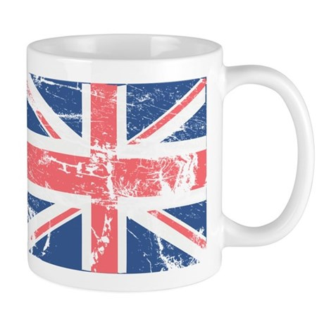 Worn and Vintage British Flag Mug