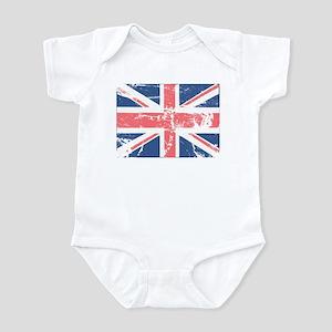 Worn and Vintage British Flag Infant Bodysuit