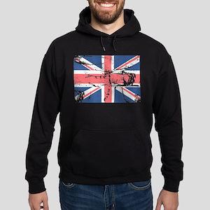 Worn and Vintage British Flag Hoodie (dark)