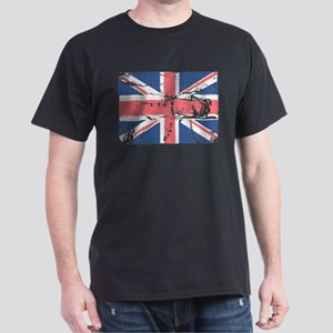 Worn and Vintage British Flag Dark T-Shirt