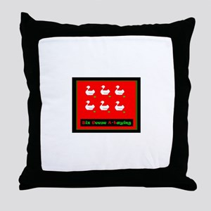 Six Geese a Laying Christmas Throw Pillow