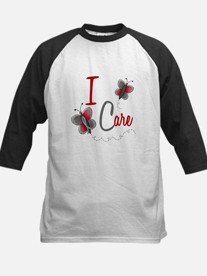 I Care 1 Butterfly 2 GREY Kids Baseball Jersey