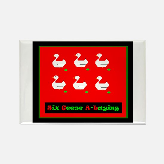 Six Geese a Laying Christmas Rectangle Magnet