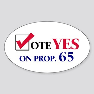 Vote YES on Prop 65 Oval Sticker