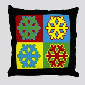 Holiday Pop Art Snowflakes Throw Pillow