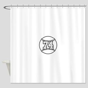 74 Baseball Raster 3 color TAS Shower Curtain