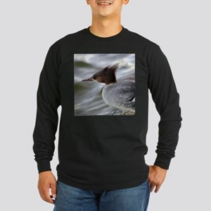 Crazy Redhead Merganser Long Sleeve Dark T-Shirt