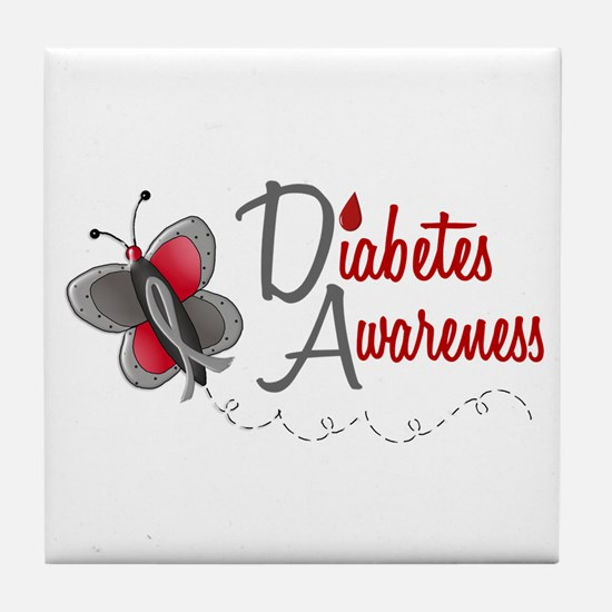 Diabetes Awareness 1 Butterfly 2 Tile Coaster