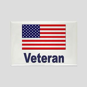 American Flag Veteran Rectangle Magnet
