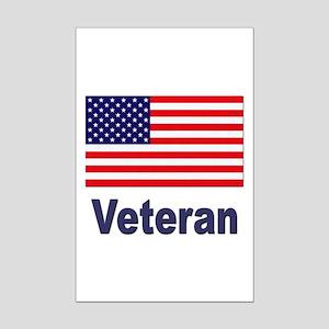 American Flag Veteran Mini Poster Print