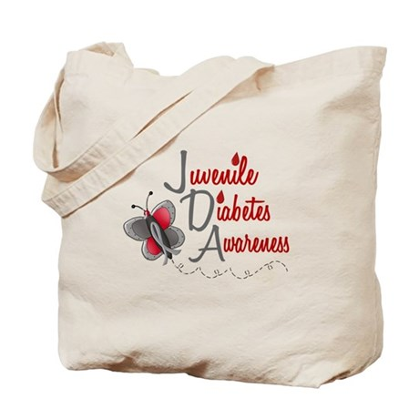 Juvenile Diabetes Awareness 1 Butterfly 2 Tote Bag