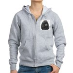 Black or Chocolate Poodle Women's Zip Hoodie