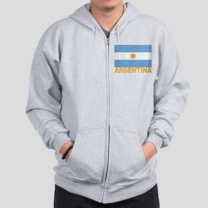 Argentina Flag Zip Hoodie