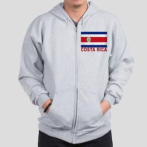 Costa Rica Flag Zip Hoodie