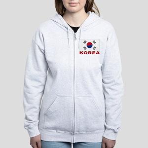 South Korea Flag Women's Zip Hoodie