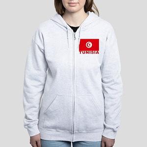 Tunisia Flag Women's Zip Hoodie