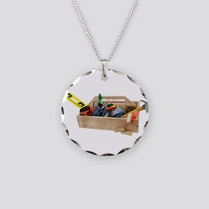 circle duct and handyman hammer tape charm bbq necklace