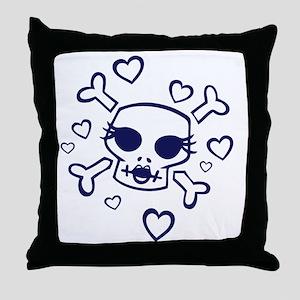Red She Hearts Skulls Women Throw Pillow