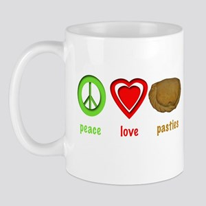 Peace, Love, Pasties Mug