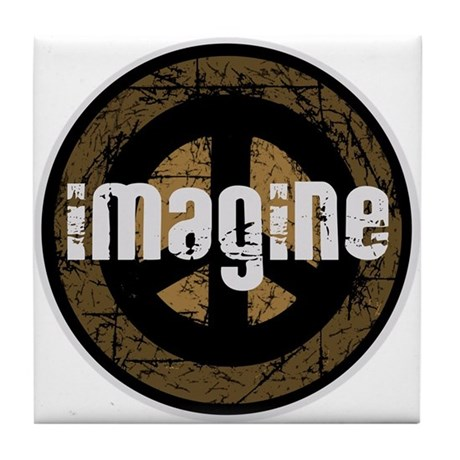 Imagine Peace Vintage Tile Coaster