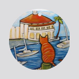 Cat at Casino Ornament (Round)