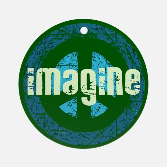 Imagine Peace Vintage Ornament (Round)