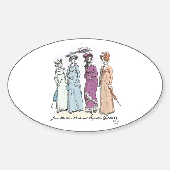 Pride and Prejudice Ch 54a Oval Decal