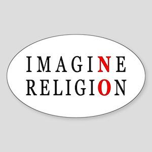 Imagine No Religion Oval Sticker