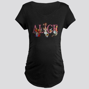 ALICE & FRIENDS IN WONDERLA Maternity Dark T-Shirt