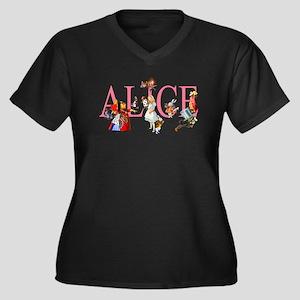ALICE & FRIE Women's Plus Size V-Neck Dark T-Shirt