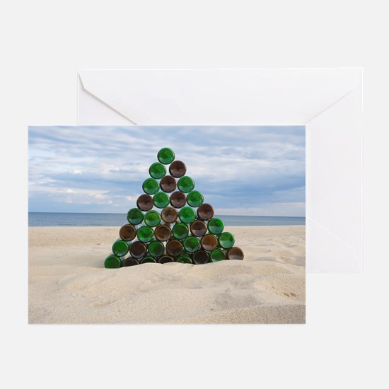 Christmas Bottle Tree Beach Greeting Cards (Pk of
