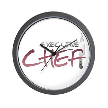 Red Executive Chef Wall Clock