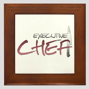 Red Executive Chef Framed Tile