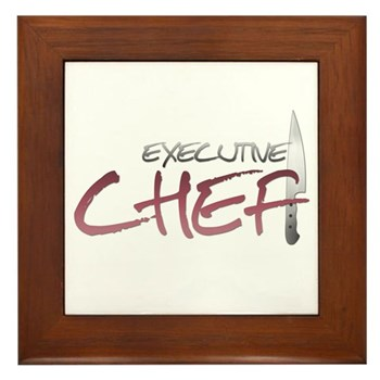 Red Executive Chef Framed Tile