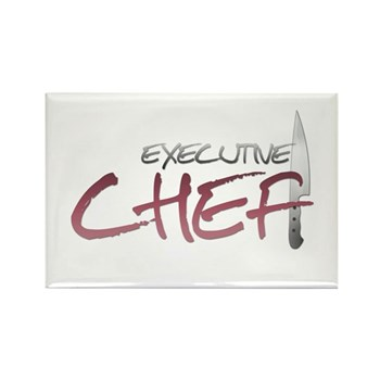 Red Executive Chef Rectangle Magnet