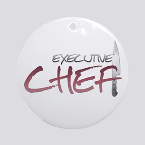 Red Executive Chef Round Ornament