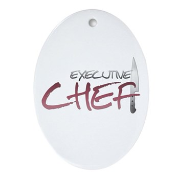 Red Executive Chef Oval Ornament
